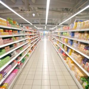 Familiar brands in supermarket aisle